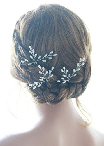 Missgrace 3pcs Handmade Wedding Bridal Crystal Rhinestone Bridal Hair Pins Clip (Silver)