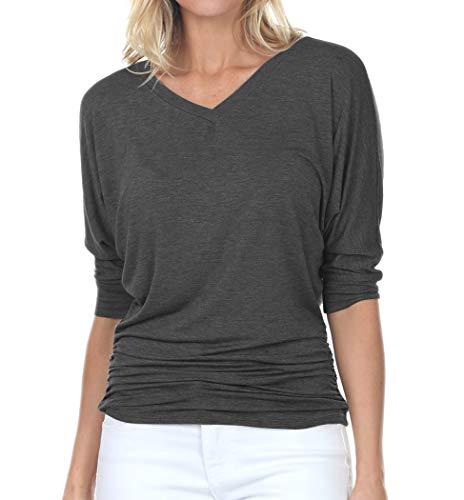iliad USA 7006 Womens V-Neck 3/4 Sleeve Side Shirring Drape Dolman Top Charcoal ()
