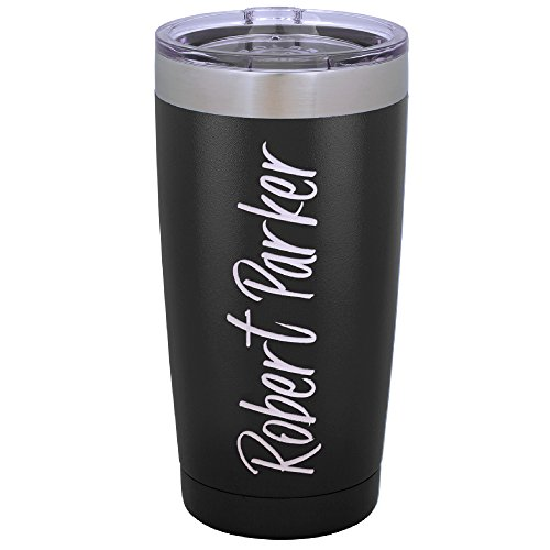 - Personalized 20 oz. Tumblers Custom Your Name and Color on Stainless Steel Tumbler Coffee Mug Free Laser Engraving (Design 1, Black)