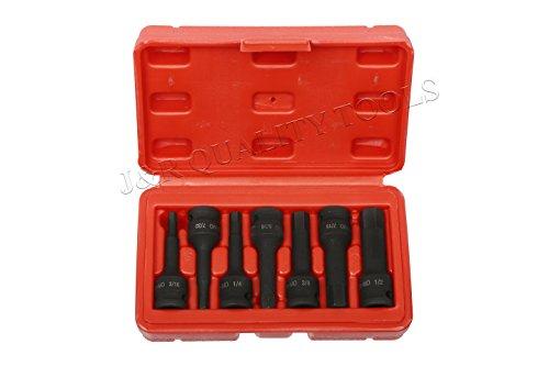 Crmo Driver (J&R Quality Tools 3/8-Inch Drive Cr-Mo SAE Standard Allen Hex Driver Impact Socket Set, 3/16