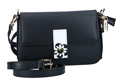 Bolsa mujer de mano con bandolera PIERRE CARDIN negro cuero Made in Italy N1014