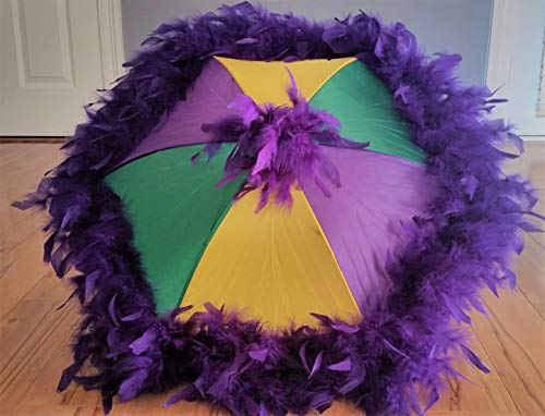 New Orleans Mardi Gras Second Line Umbrella with Purple Feather Accent
