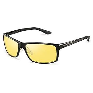 SOXICK Fashion Night Vision Glasses Anti Glare Polarized Night Driving Glasses (Black1)