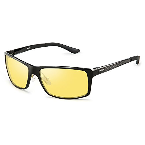 Polarized Night Driving Glasses Anti Glare Safety HD Night Vision Sunglasses (Black Frame05, Yellow)