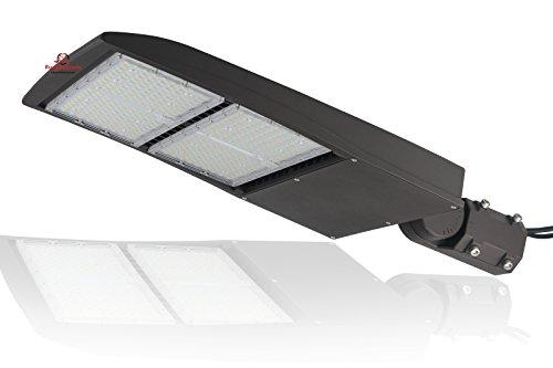 300 Watt NextGen II LED Parking Lot Lights - 40,000 Lumen - Brown Housing - Super Efficiency 130 Lumen to Watt - 5000K Bright White - Replaces 1000W Halide - LED Shoebox - Slip Fit - with photocell