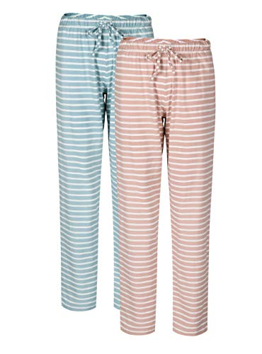 Genuwin Women's Cotton Pajama Pants Casual Pocket Lounge Pants Sleep Pajama Bottoms 2 Pack S~XL (Baby Pink Stripe+Moonlight Blue Stripe, Small)