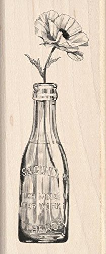Inkadinkado Vintage Bottle Flower Wood Stamp