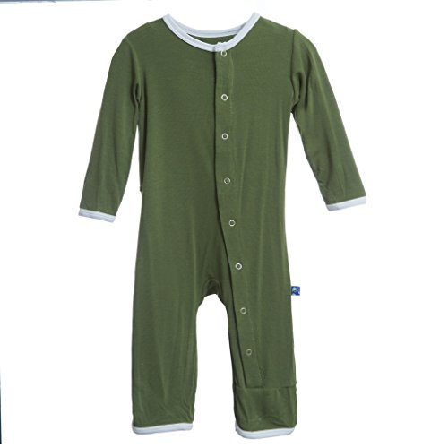KicKee Pants Baby-Boys Applique Coverall- Moss Duck, 18-24 Months