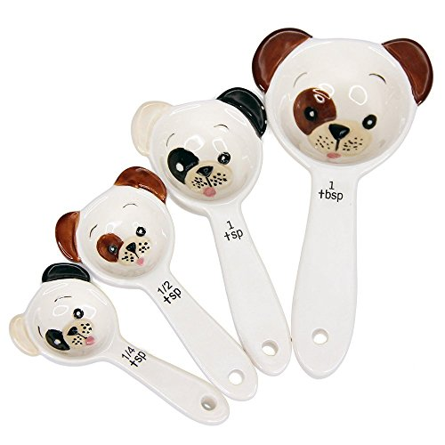 Pacific Giftware Loveable Puppy Dog Ceramic Measuring Spoon Set of 4 Creative Functional Kitchen Decor