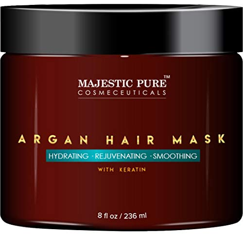 MAJESTIC PURE Argan Hair Mask with Keratin - Rejuvenating, Hydrating, Smoothing Deep Conditioner Keratin Hair Treatment - Paraben Free, 8 fl oz (Best Treatment For Dry Hair Ends)