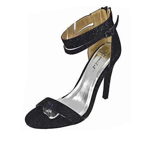 Bonnibel Lupid Dos Glissière Glitter Sandales Avec Double Bride À La Cheville Chaussures Sandale Noir