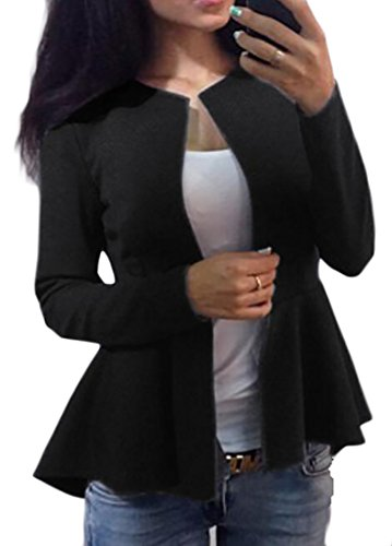 Peacoat Jacket Blazer (Fulok Womens Slim Peplum Solid Peacoat Casual Office Blazer Jacket Black L)