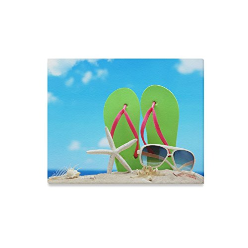 Canvas Print Valentine's Day Gifts Sunglasses Flip Flops Starfish On Beach Design Modern Wall Art for Home Room Office Decoration (20x16 - Charlotte Sunglasses Nc