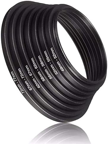 7pcs Universal Metal Step Up Rings Aluminum Lens Adapter Filter Set 49-52-55-58-62-67-72-77 mm 49mm-77mm Camera Accessory Sala-Deco