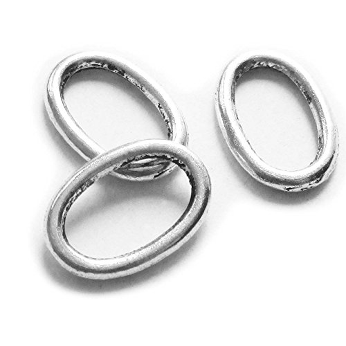 Heather's cf 45 Pieces Silver Tone Oval Annulus Close Circle Findings Jewelry Making 20X15mm(F)
