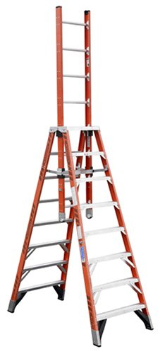 Werner E7408 300-Pound Duty Rating Fiberglass Extension Trestle Ladder, 8-Foot