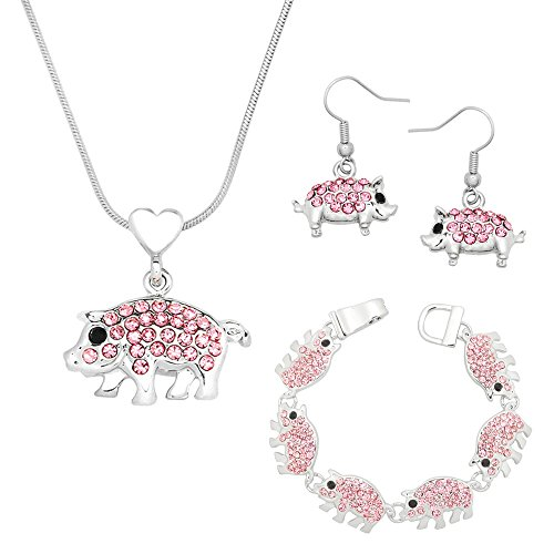Lola Bella Gifts Crystal Pig Theme Necklace Earrings and Bracelet Set w Gift Box