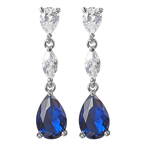 Yoursfs Sapphire Chandelier Earrings for Fashion Lady Crystal Bridal Earrings Teardrop Shaped Dangle Blue Wedding ()