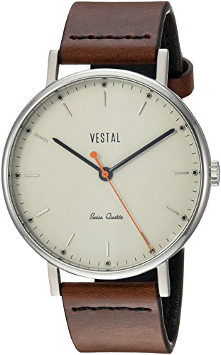 Vestal 'Sophisticate' Swiss Quartz Stainless Steel and Leather Dress Watch, Color Brown (Model: SPH3L08)