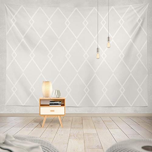 Suesoso Damask Chevron Tapestry,80 W x 60 L Hang Wall Art,Tile with Grey and White Abstract Black Chevron Damask Hanging Wall Decor,Tapestry Wall Hanging for Home Decor,Birthday Gifts for Women (Hanging Damask Wall)