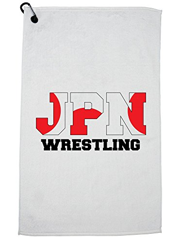 Hollywood Thread Japan Wrestling - Olympic Games - Rio - Flag Golf Towel with Carabiner Clip by Hollywood Thread