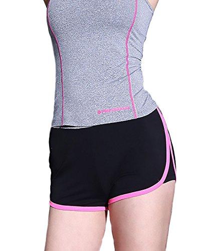 HaiDean Pantaloncini Donna Asciugatura Veloce Traspirante Casuale Giovane Hippie Yoga Sportivi Fitness Running Training Shorts Pantaloni Corti Rosa