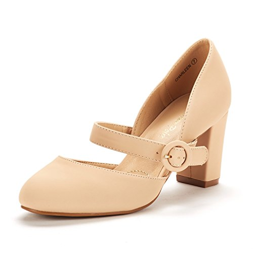 DREAM PAIRS Women's Charleen Nude Nubuck Classic Fashion Closed Toe High Heel Dress Pumps Shoes Size 6 M US