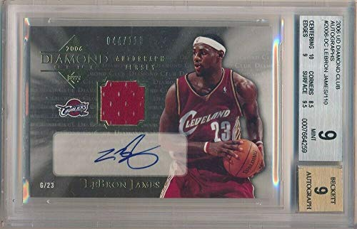 BIGBOYD SPORTS CARDS Lebron James 2006 UD Diamond Club Autograph Jersey AUTO SP #/110 BGS 9 -