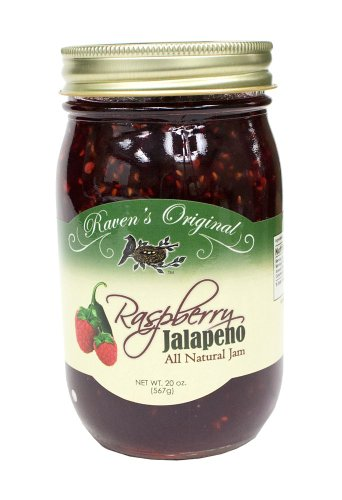 Raven's Original Hot Pepper All Natural Jam - 20 Ounce Jar (Raspberry Jalapeno) -