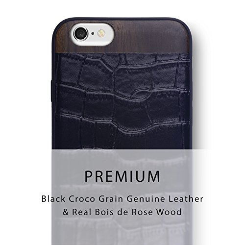 iATO iPhone 6 Plus / 6s Plus Designer Case. Genuine Black Croco Grain Leather & Real Rose Wood Premium Protective Back Cover. Unique, Stylish and Classy Wooden Snap on Bumper Case for iPhone 6+ 6s+