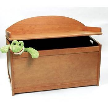 Attrayant Childu0027s Wooden Toy Box Chest   Pecan Finish