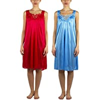 JOTW 2 Pack of Silky Lace Accent Sheer Nightgowns - Medium to 4X Available (9006)