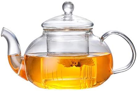 Glass Teapot with Removable Infuser Stovetop Safe Tea Kettle