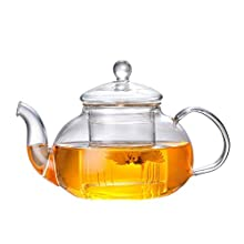 HKKAIS 33.8 Ounce / 1000ML Glass Teapot with Removable Infuser, Stovetop Safe Tea Kettle, Blooming and Loose Leaf Tea Maker Set (1000ML)