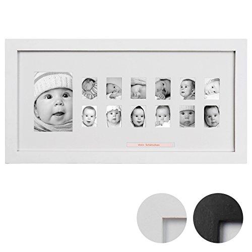 Jago Bilderrahmen in Schwarz oder Weiß für 1 großes und 12 kleine Fotos aus Paulownia-Holz Mein erstes Jahr Baby im 1er/2er/4er/5er/6er-Set