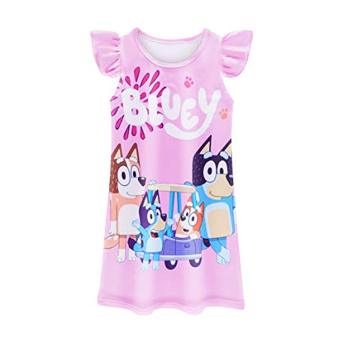 Toddler Girls Baby Princess Pajamas Cartoon Print Nightgown Dress Dog Sleepwear Nightdress