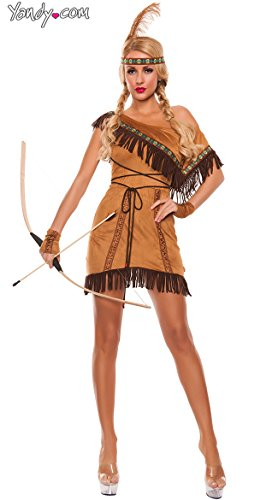Starline Women's Dream Catcher Costume Sexy 3 Piece Costume Set, Brown, Small