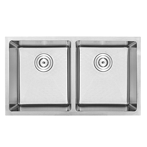 31-14 Phoenix PLZ-15 Undermount Double Equal Bowl 18 Gauge Stainless Steel Square Kitchen Sink with Tight Radius Corners and Center Drains