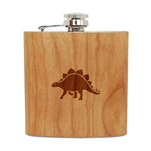 WOODEN ACCESSORIES COMPANY Cherry Wood Flask With Stainless Steel Body - Laser Engraved Flask With Stegosaurus Design - 6 Oz Wood Hip Flask Handmade In USA ()