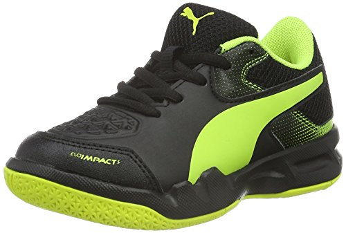 Puma Unisex-Kinder Evoimpact 5.2 Jr Hallenschuhe, Schwarz (Black-Safety Yellow 01), 32 EU