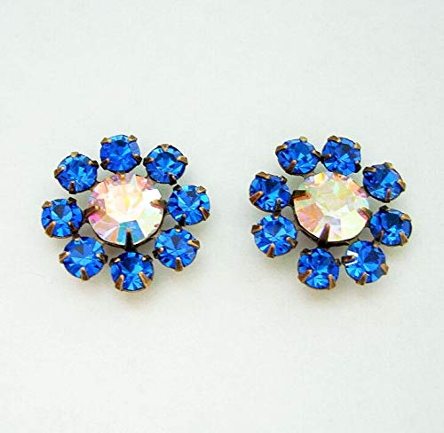 2-Vintage Clear AB and Blue Sapphire Rhinestones in Antiqued Brass Settings.