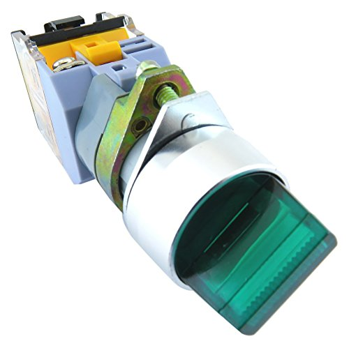 YuCo YC-SS22XPMA-I2G-3 Illuminated Selector Switch, Green
