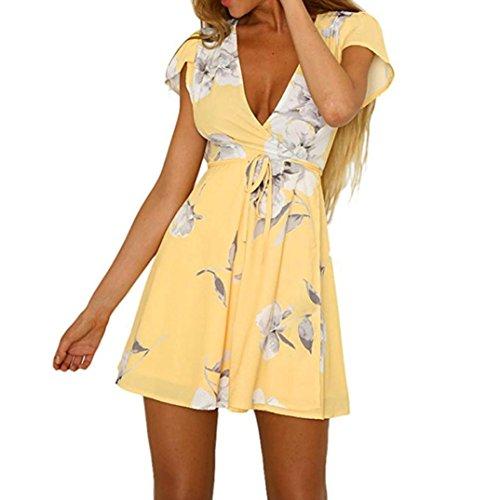 Amazon.com: TIFENNY 2018 New Women Boho Sexy Bow tie Sleeveless V-Neck Printing Sundress Mini Dress: Clothing