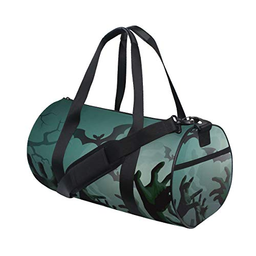 Halloween Thrilling Zombie Hand Custom Multi Lightweight Large Yoga Gym Totes Handbag Travel Canvas Duffel Bags With Shoulder Crossbody Fitness Sports Luggage For Boys Girls Mens Womens -