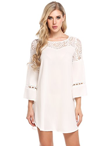 ACEVOG Women's 3/4 Sleeve Lace Patchwork Loose Casual Mini Chiffon Dress