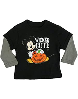 Disney Infant & Toddler Boys Black Wicked Cute Mickey Mouse Halloween Shirt