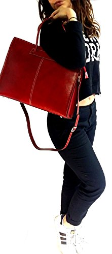 Rose Cartella Leather Spalla Luxury Modello Bag Lavoro Vera Deep Unisex Made Tracolla Cuoio Emilia Italy Borsa A Shopper Donna Con Mano In Pelle qIHdI
