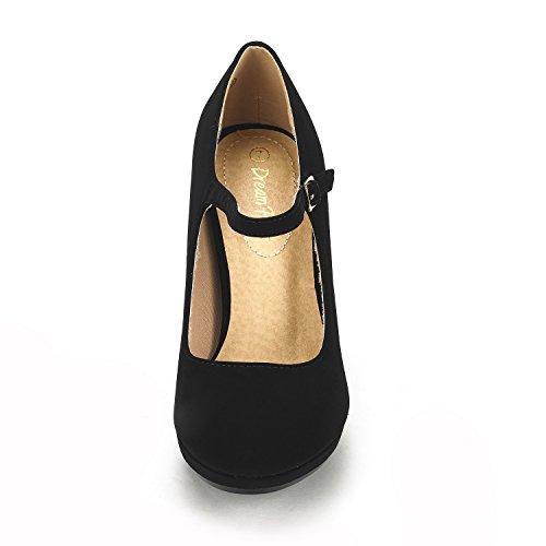 DREAM PAIRS Women's LILICA Black Nubuck Mary-Jane Close Toe Stilleto Platform Heel Pump Shoes - 9 M US by DREAM PAIRS (Image #3)