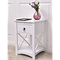 K&A Company Side End Table Sofa Nightstand Wood Accent Furniture Small Drawer Storage Room Stand Shelf Living Bed Tables Bedside Modern New Elegant White