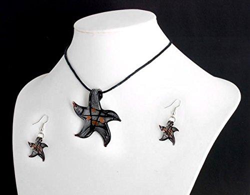 (Ecloud Shop 1 Set Lampwork Murano Glass Starfish Necklace Earrings FASHION)